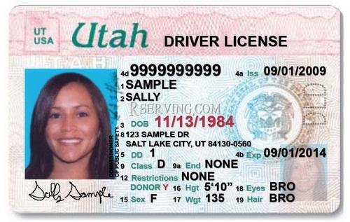 Driver license Utah USA